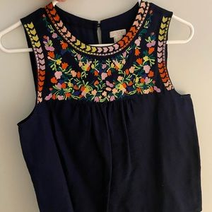 Jcrew embroidered sleeveless blouse